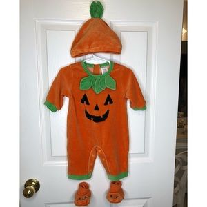 0-3 month Baby Boys pumpkin Halloween outfit